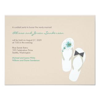 """banquete de boda de los flips-flopes del hibisco invitación 4.25"""" x 5.5"""""""