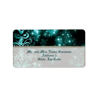 Banquete de boda del invierno del negro azul etiqueta de dirección