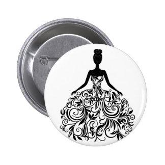 Banquete de boda hermoso del chica del vestido de  pin redondo 5 cm