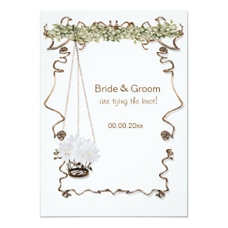 Banquete de boda marrón blanco del compromiso invitación 12,7 x 17,8 cm
