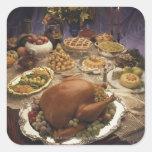Banquete de la acción de gracias pegatina cuadrada