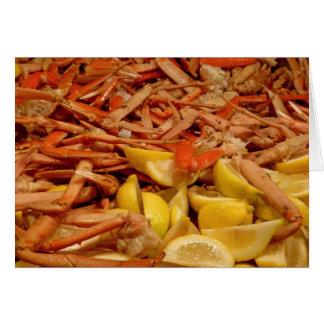 Banquete de la pierna de cangrejo tarjeta de felicitación