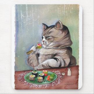 Banquete de la suposición del gato del sushi alfombrillas de ratón