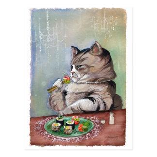 Banquete de la suposición del gato del sushi postales