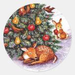 banquete de los animales del invierno etiquetas redondas