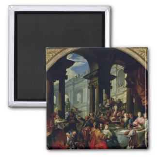 Banquete debajo de un pórtico iónico, c.1720-25 imán de nevera