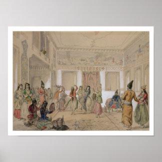 Banquete del Harem, Teherán (lápiz y w/c en el pap Póster