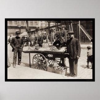 Banquete italiano 1908 del vendedor ambulante póster