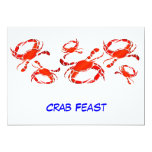 Banquete rojo del cangrejo invitación 12,7 x 17,8 cm
