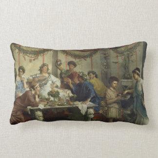 Banquete romano antiguo del fiesta de cena almohada