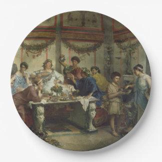 Banquete romano antiguo del fiesta de cena platos de papel