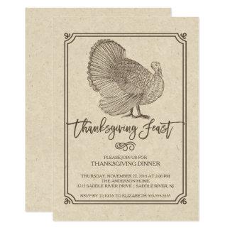"""Banquete tradicional de la acción de gracias de invitación 5"""" x 7"""""""