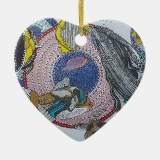 Banquete tropical adorno navideño de cerámica en forma de corazón