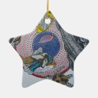 Banquete tropical adorno navideño de cerámica en forma de estrella