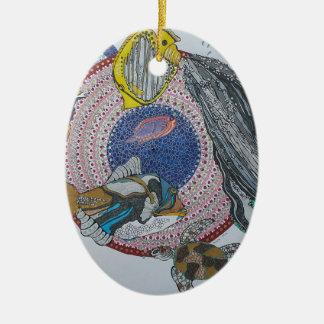 Banquete tropical adorno navideño ovalado de cerámica