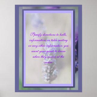 Banquetes de la flor, señales de dirección de las  póster