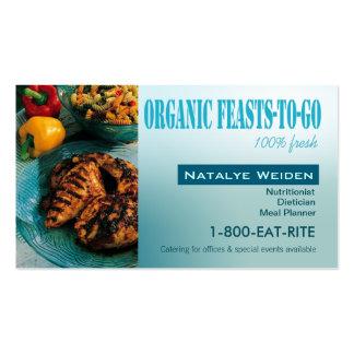 Banquetes orgánicos a ir estilista de la comida de tarjetas de visita