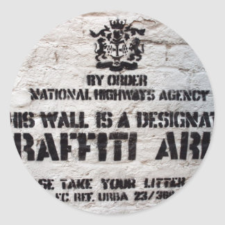 Bansky Designated Graffiti Area Classic Round Sticker
