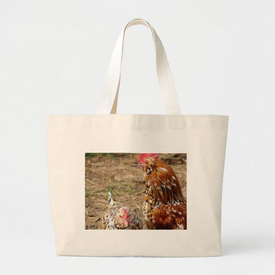 Bantam Hen and Rooster Large Tote Bag