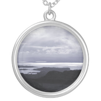 Bantry Bay from Tunnel Road Ireland. Blue. Round Pendant Necklace