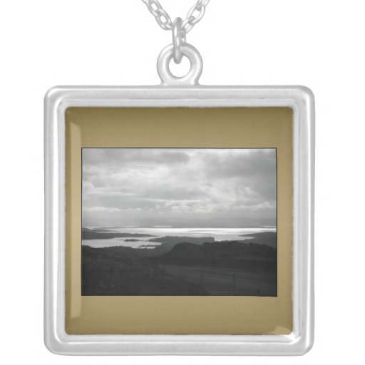 Bantry Bay from Tunnel Road Ireland. Square Pendant Necklace