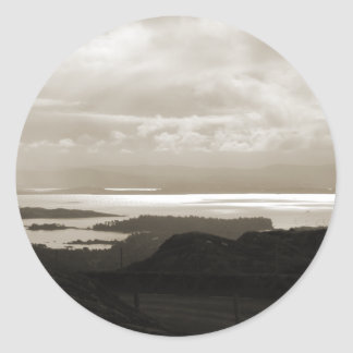 Bantry Bay from Tunnel Road Ireland. Sepia Colors. Classic Round Sticker