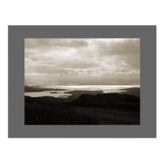 Bantry Bay from Tunnel Road Ireland. Sepia Colors. Postcard