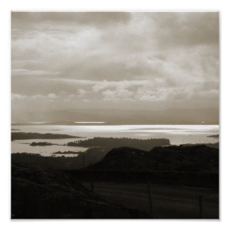 Bantry Bay from Tunnel Road Ireland. Sepia Colors. Poster