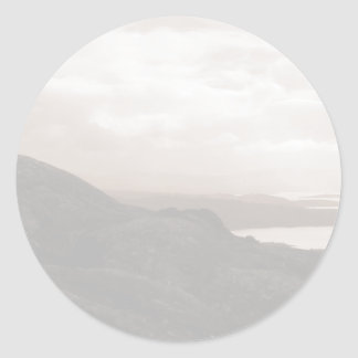 Bantry Bay, Tunnel Road Ireland. Warm Sepia Colors Classic Round Sticker