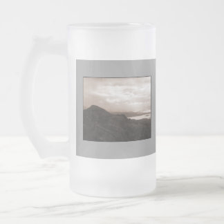 Bantry Bay, Tunnel Road Ireland. Warm Sepia Colors Frosted Glass Beer Mug