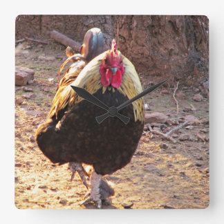 Banty Rooster Square Wall Clock