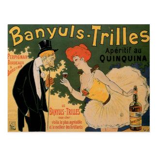 Banyuls Trilles Vintage Wine Drink Ad Art Postcard