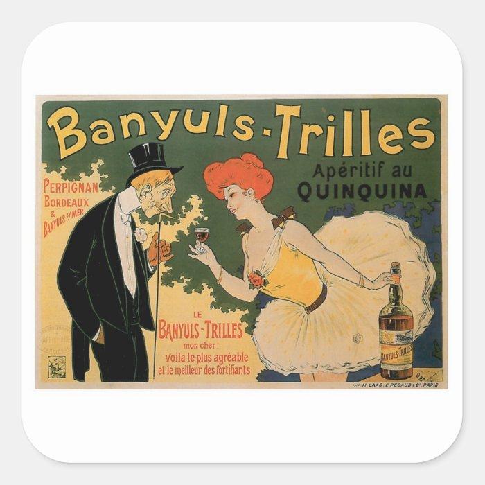Banyuls Trilles Vintage Wine Drink Ad Art Square Sticker