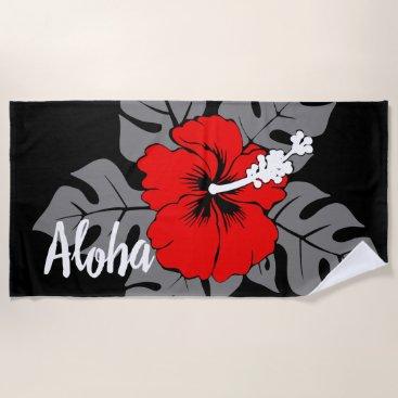 Beach Themed Banzai Beach Hawaiian Hibiscus Floral - Black Beach Towel