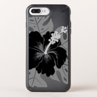 Banzai Beach Hawaiian Hibiscus Floral - Black Speck iPhone Case