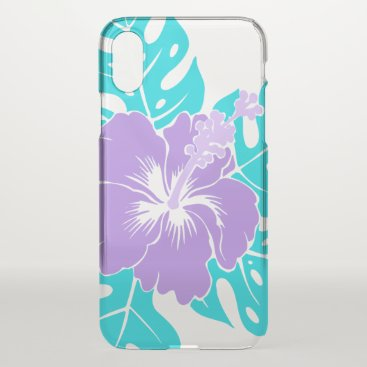 Beach Themed Banzai Beach Hawaiian Hibiscus Floral - Lilac iPhone X Case