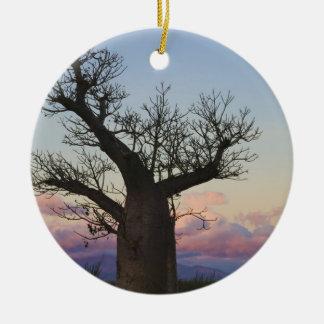 Baobab trees, Berenty, Toliara, Madagascar Double-Sided Ceramic Round Christmas Ornament