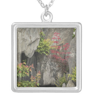 Bao's family garden, Huangshan, China. Square Pendant Necklace