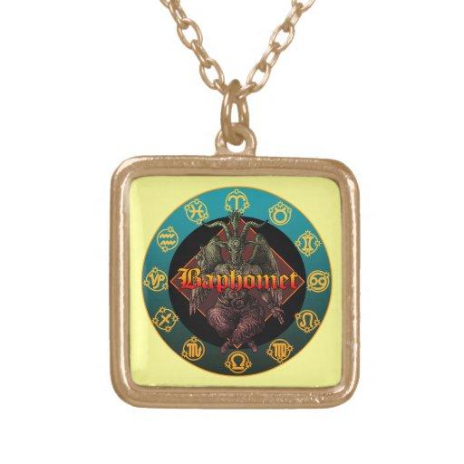 baphomet and horoscope colgante cuadrado