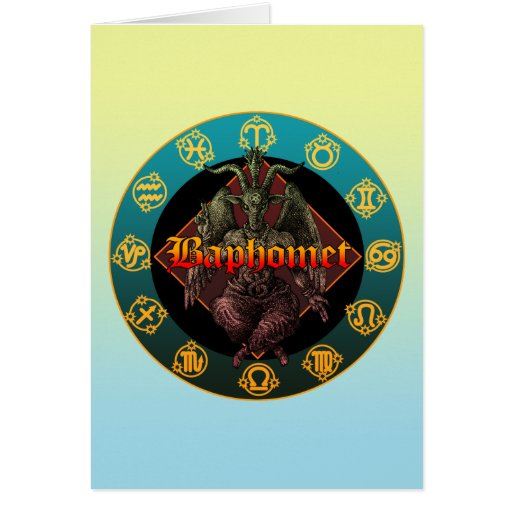 baphomet and horoscope greeting card
