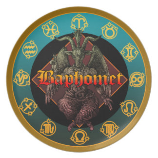 baphomet and horoscope party plate