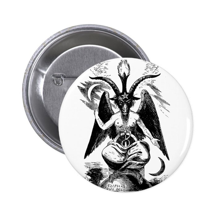 Baphomet (black) pinback button