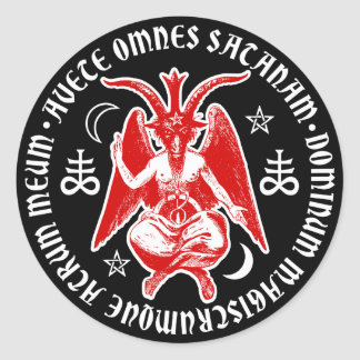 Baphomet con las cruces y los Pentagrams satánicos Pegatina Redonda