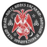 Baphomet con las cruces y los Pentagrams satánicos Plato Para Fiesta
