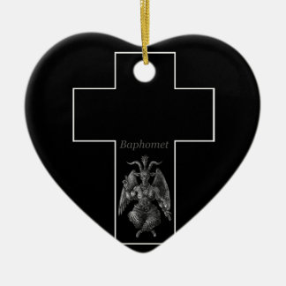 Baphomet Cross Double-Sided Heart Ceramic Christmas Ornament