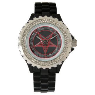 Baphomet gris y rojo negro reloj de mano