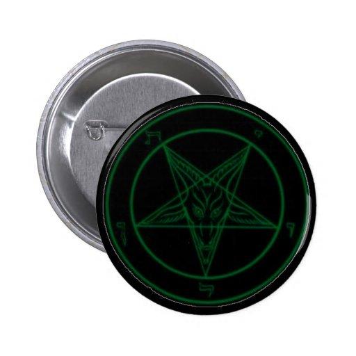 Baphomet In Green Pinback Buttons