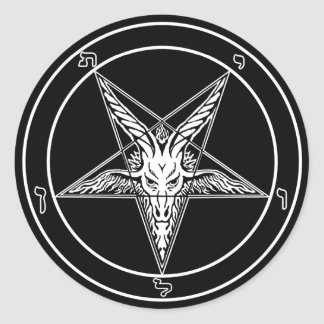 Baphomet Old Style decals - Big 3-inch - Set of 6 Classic Round Sticker