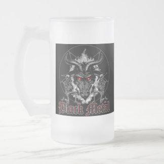Baphomet Pentagram Black Metal Frosted Glass Beer Mug