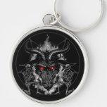 Baphomet Pentagram Black Metal Silver-Colored Round Keychain